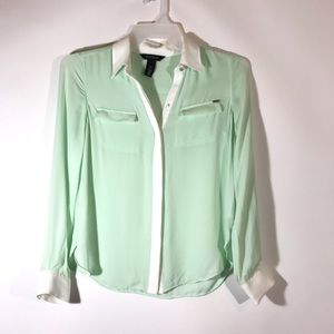 WHBM Mint White Button Front Size 2